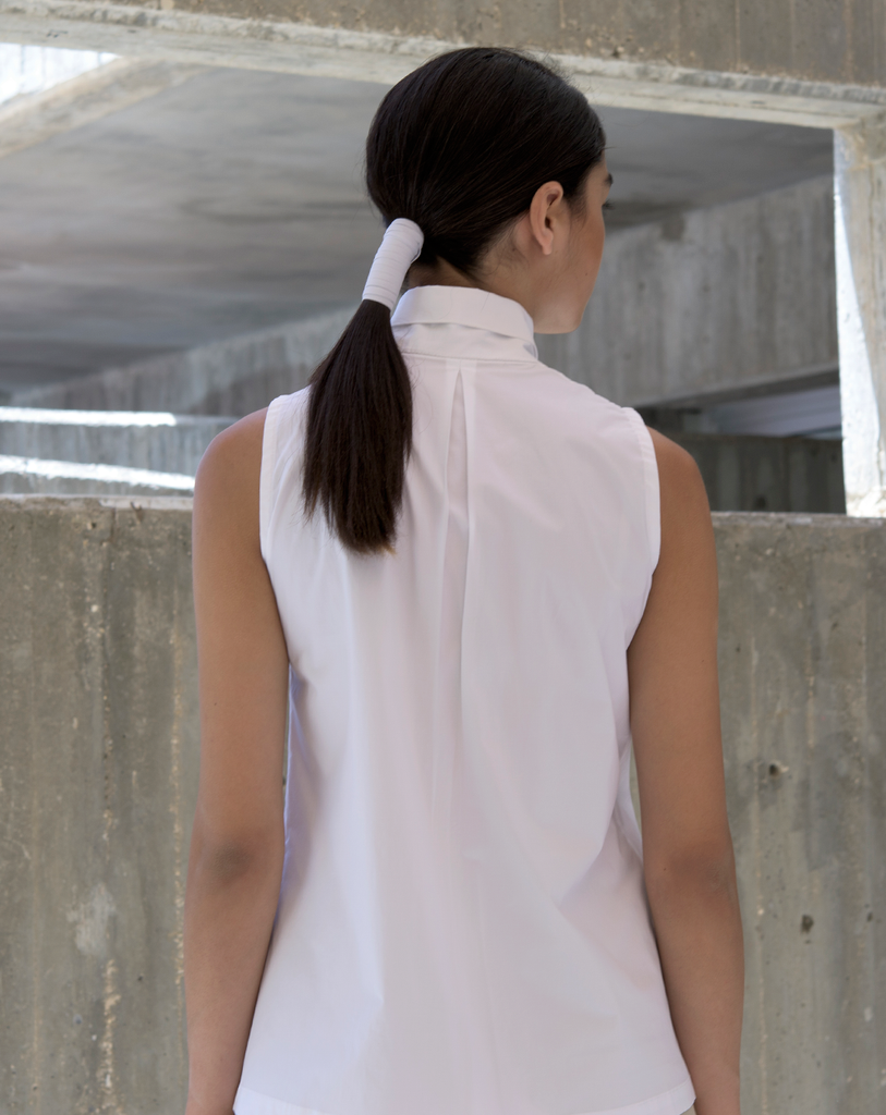 High Corner Blouse | White