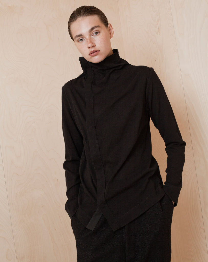 High Asymmetrical-Buttoning Blouse
