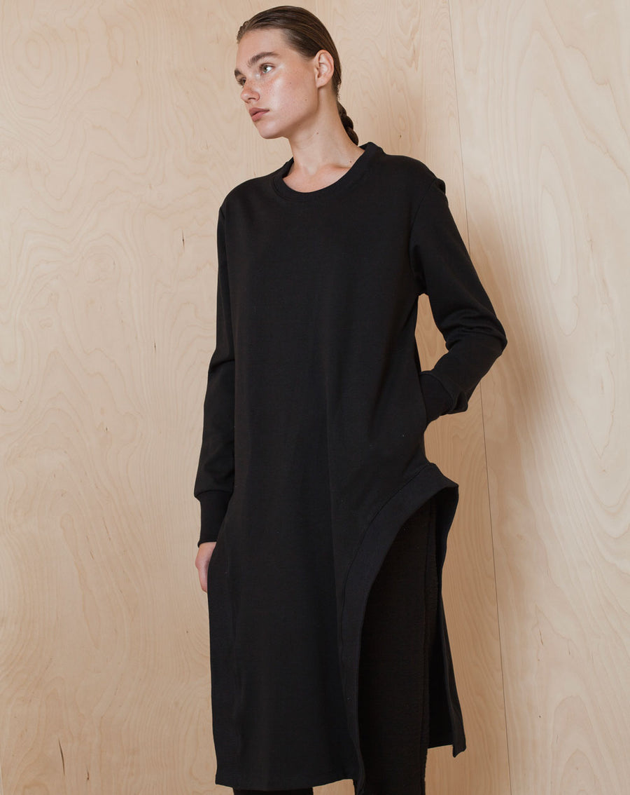 Round Slits Sweatshirt Dress