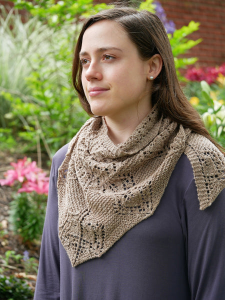 Gray Garden Shawl by Anne Hason worn as a cowl/scarf