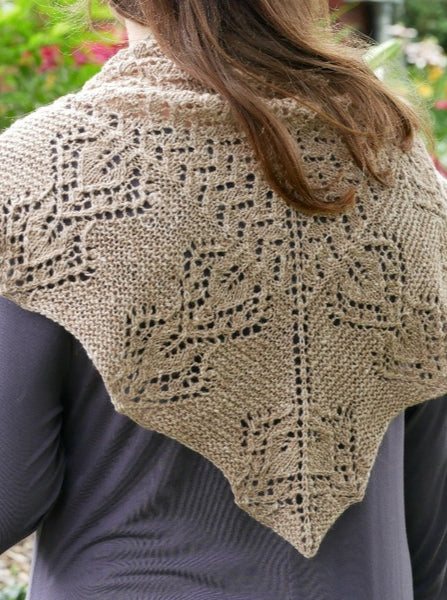 back of gray garden knit shawl