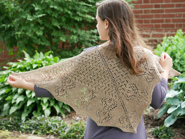 Gray Garden Knit Shawl in Biscotti Better Breakfast Fingering Yarn