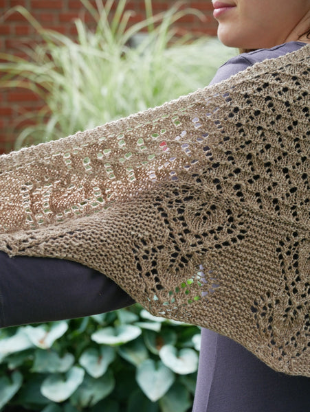 Gray garden knit shawl closeup