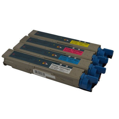 OKI 43459312 + 43459353-355 (C3300/C3400/C3600) High Yield (4 Pack) Compatible Toner Cartridge Combo