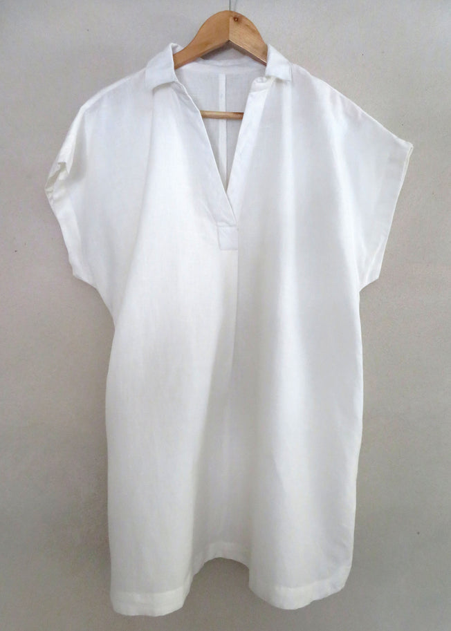 Pip Pop Over Shirt Dress White