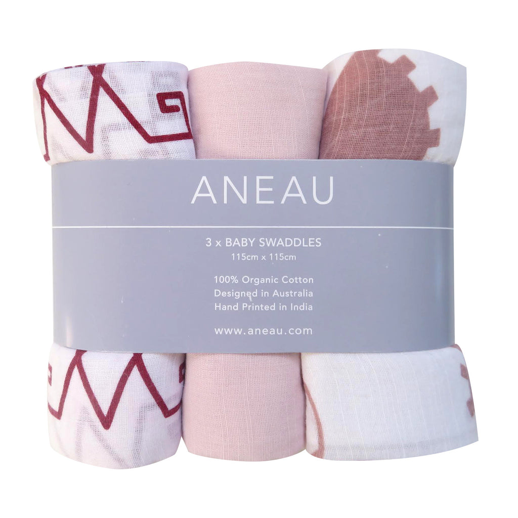 Rose Tone Baby Swaddle Set of Three