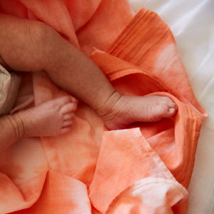Tangerine Mirage Shibori Organic Cotton Baby Swaddle