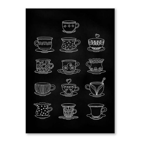 Modern Black White Cup of Coffee Tea Poster And Prints Canvas Painting Wall Art Picture For Coffee Shop Kitchen Room Home Decor