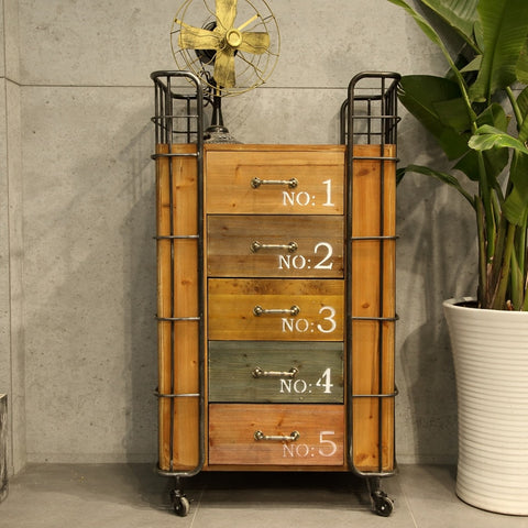 American Village Retro Iron Frame Wooden Five Drawers Creative Lockers Roller Storage Cabinets Wholesale Decor