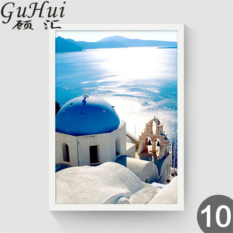 Nordic Blue Mediterranean Landscape Greece Aegean Sea Canvas Painting Home Wall Pictures For Living Room Restaurant Decor
