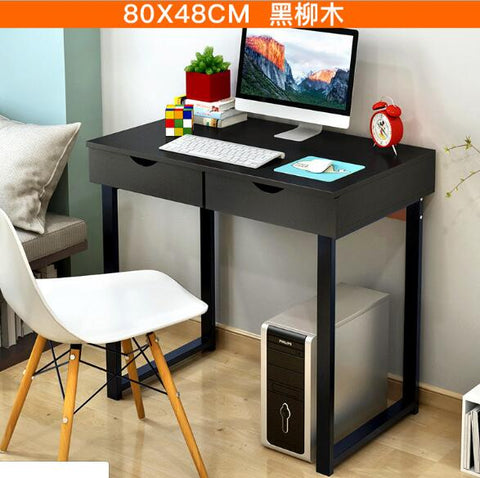 Home Desktop PC Table with 2 Drawers Simple Creative Computer Stand Large Size Writing Desk MDF+Steel