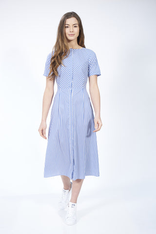Blue Stripe Midi Dress