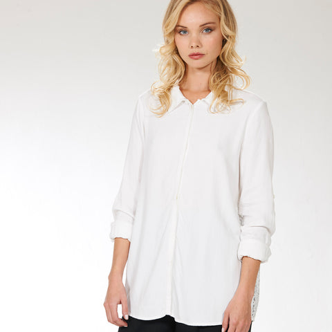 Crochet Panel Blouse- White