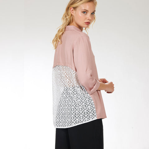 Crochet Panel Blouse- Pink