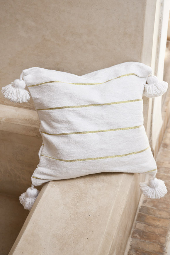Cushion - White w/ Gold Stripe