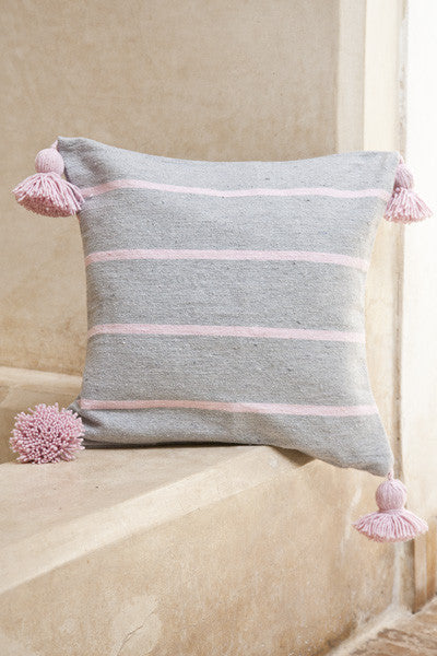 Cushion - Grey w/ Pink Stripe Pom-Poms