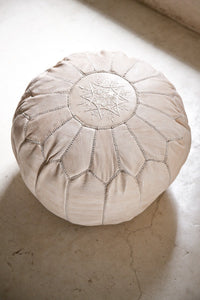 Nude Leather Pouffe