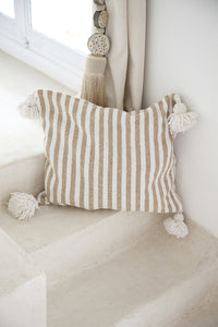 Cushion - Thin Stripe Beige | Cotton