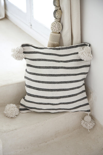 Cushion - Charcoal w/ White Pompoms