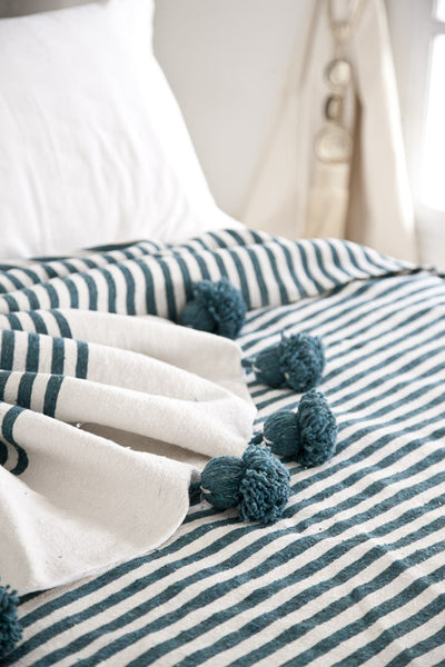 Pom Pom Bed Throw - Teal Stripe | Cotton