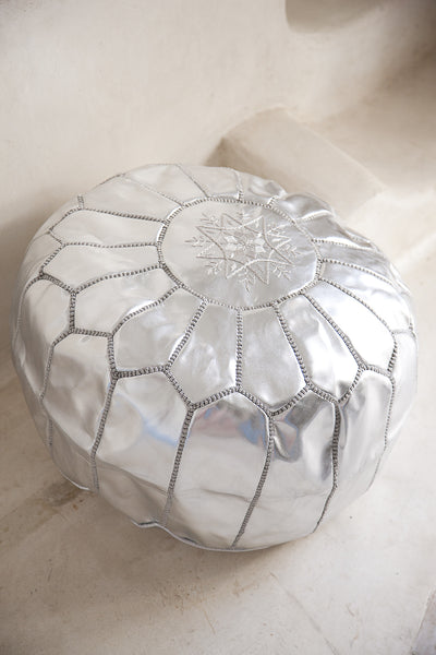 Leather Pouffe, Footstool, Ottoman - Silver