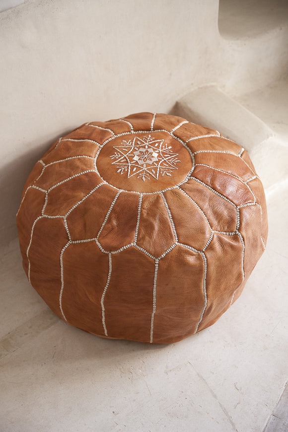 Leather Pouffe, Footstool, Ottoman - Light Tan