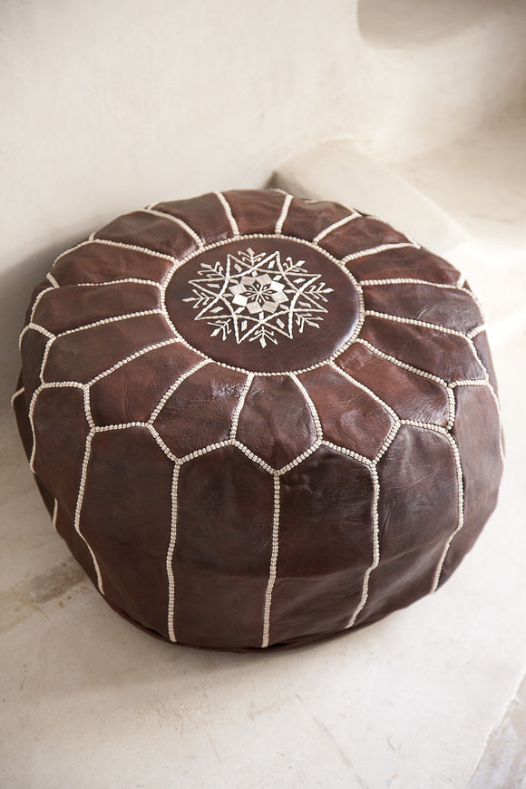 Leather Pouffe, Footstool, Ottoman - Dark Tan