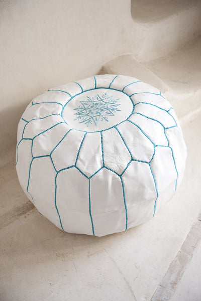 Leather Pouffe, Footstool, Ottoman - White With Turquoise Stitch