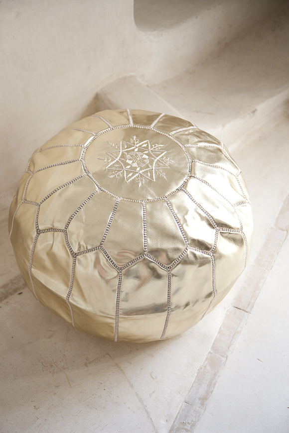 Leather Pouffe, Footstool, Ottoman - Gold