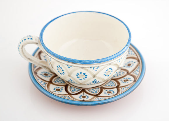 Blue w/ Brown Pattern Cappuccino Mug & Saucer