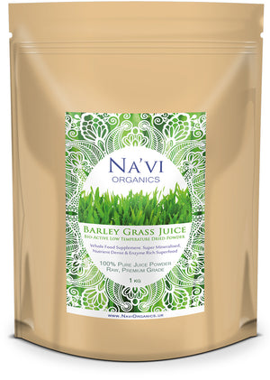 1kg resealable pouch of organic, raw Barley Grass juice powder
