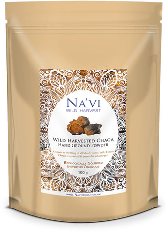 Resealable pouch of Wild Harvested Russian Chaga -  tonic herb powder