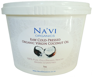 1kg tub of raw, cold pressed, virgin cocunut oil