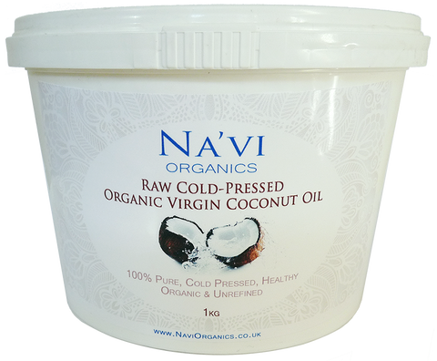 Organic Raw Cold Pressed Virgin Coconut Oil - 1kg Tub - Na'vi Organics Ltd