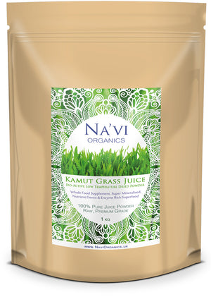 1kg resealable pouch of Organic Raw Kamut (Wheat) Grass juice powder