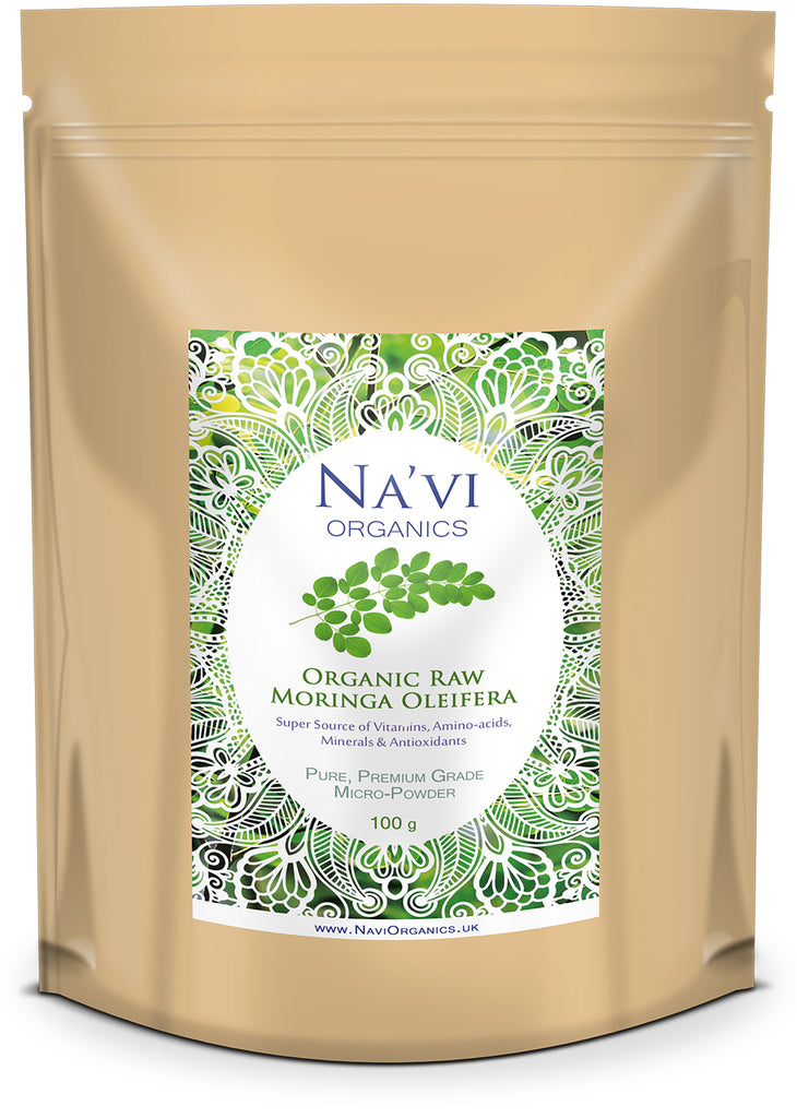 Resealable pouch of premium Raw Organic Moringa Oleifera Leaf Micro-Powder