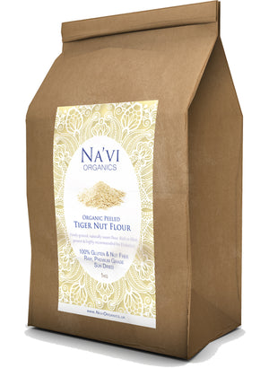 brown paper bag of premium organic peeled Tiger Nut Flour - 1kg and 4.5kg