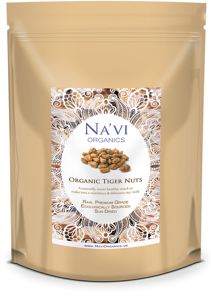 Resealable pouch of unpeeled, whole, premium organic Tiger Nuts