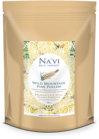 75 gram resealable pouch of wild mountain pine pollen