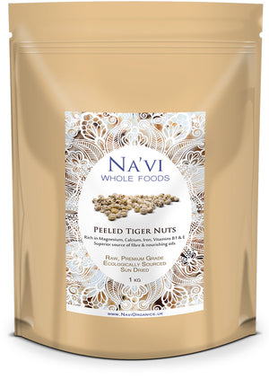 1kg resealable pouch of raw, peeled tiger nuts
