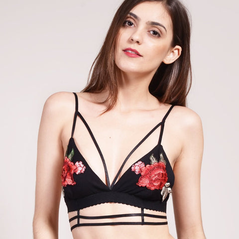 Wink Gal Embroidered Strappy Bralette