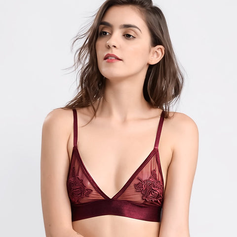 Wink Gal Women's Embroidered Floral Printed Strappy Bralette Maroon