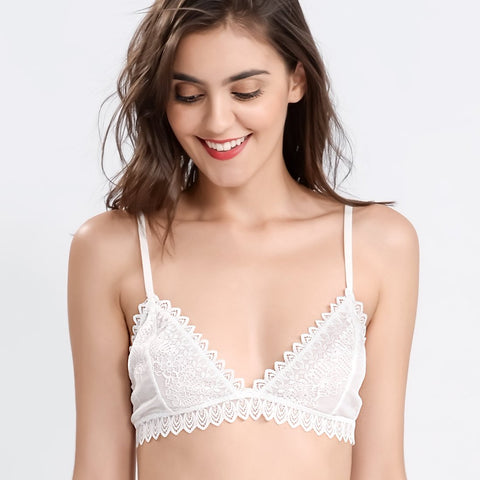 Wink Gal Women's Triangle Wire Less Crochet Lace Bralette