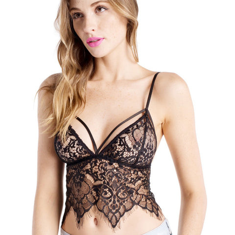 Wink Gal Women's Transparent Sheer Lace Bralette Cami Tops Bras Black