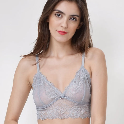 Wink Gal Women's Scalloped Wire Free Bra Floral Sheer Lace Bralette