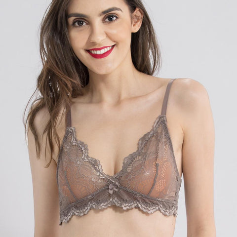 Wink Gal Women's Unlined V Neck Wire Free Sheer Lace Bralette Bras Sexy Lingerie