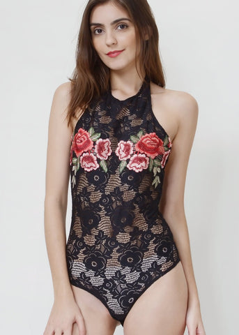 Wink Gal Embroidered Crochet Bodysuit