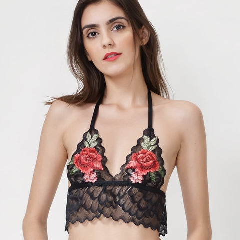 Wink Gal Women's Halter Embroidered Floral Lace Bralette