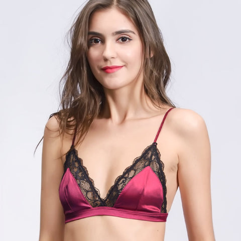 Wink Gal Women's Silk Triangle Cup Unpadded Lace Bralette