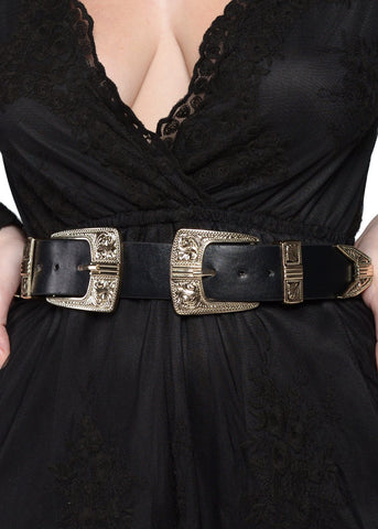 Wink Gal Women's Western Cowgirl Double Buckle Belt